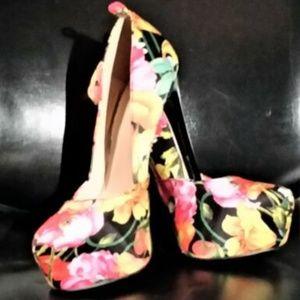 Platform Floral Stilettos Size 5.5